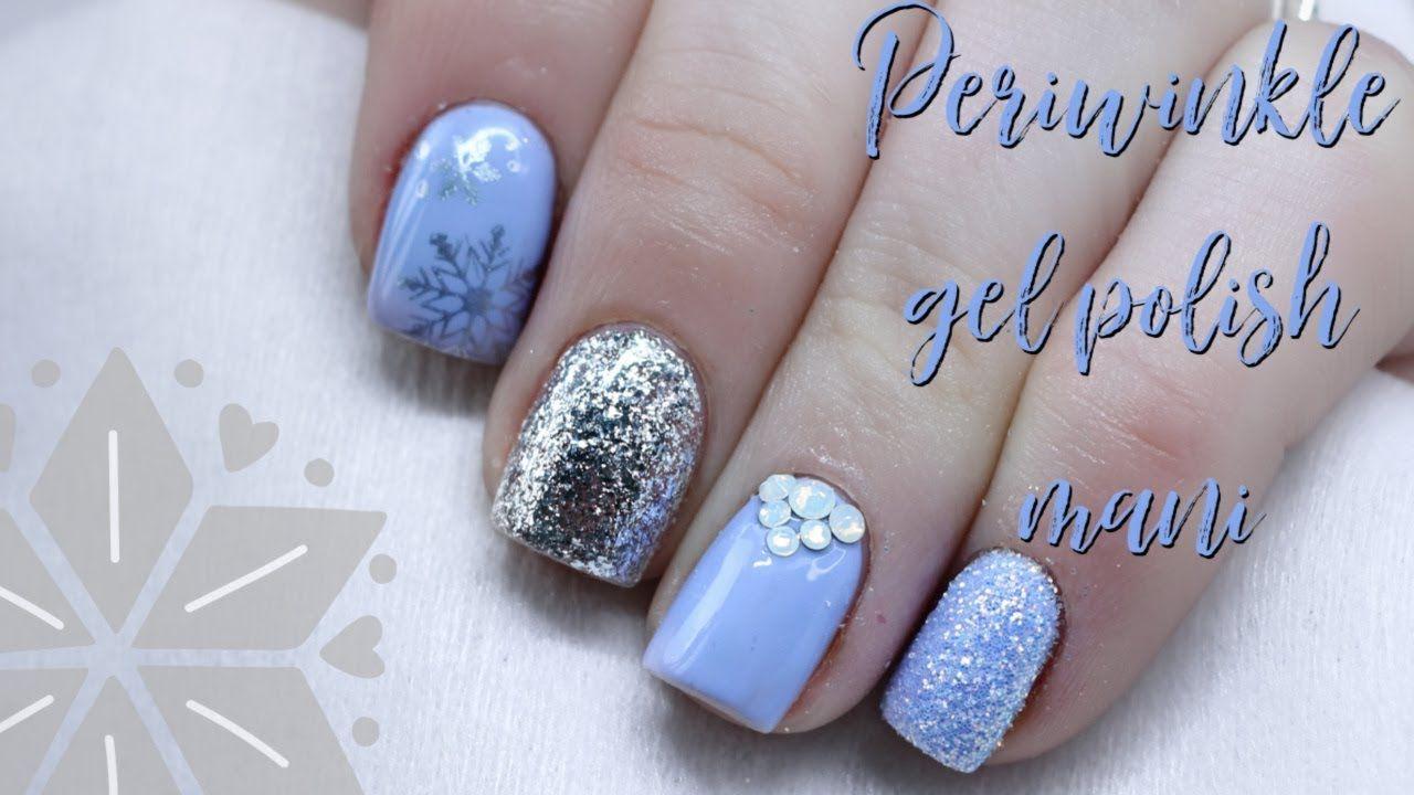 Gel Polish Nail Design Natural Nails Periwinkle Winter Nails Youtube Diy Acrylic Nails Gel Polish Nail Designs Nail Polish Designs