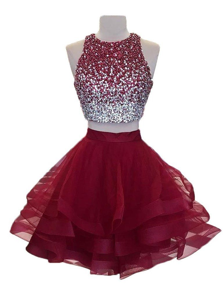 2018 Sexy Open Back Two Pieces Red Homecoming Dresses,587 #homecomingdresses