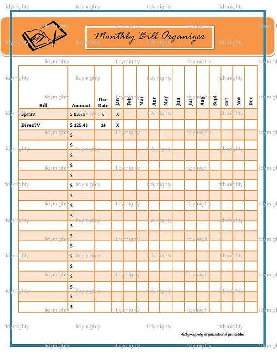 Monthly Bill Organizer - Good idea to see them all in one place