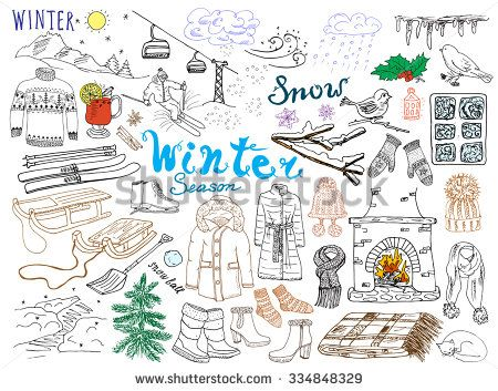 ab08b5dfe65d Winter season set doodles elements. Hand drawn set with glass hot ...