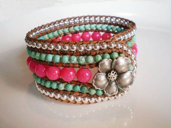Pink Turquoise Bracelet Pink Jewelry Turquoise Jewelry