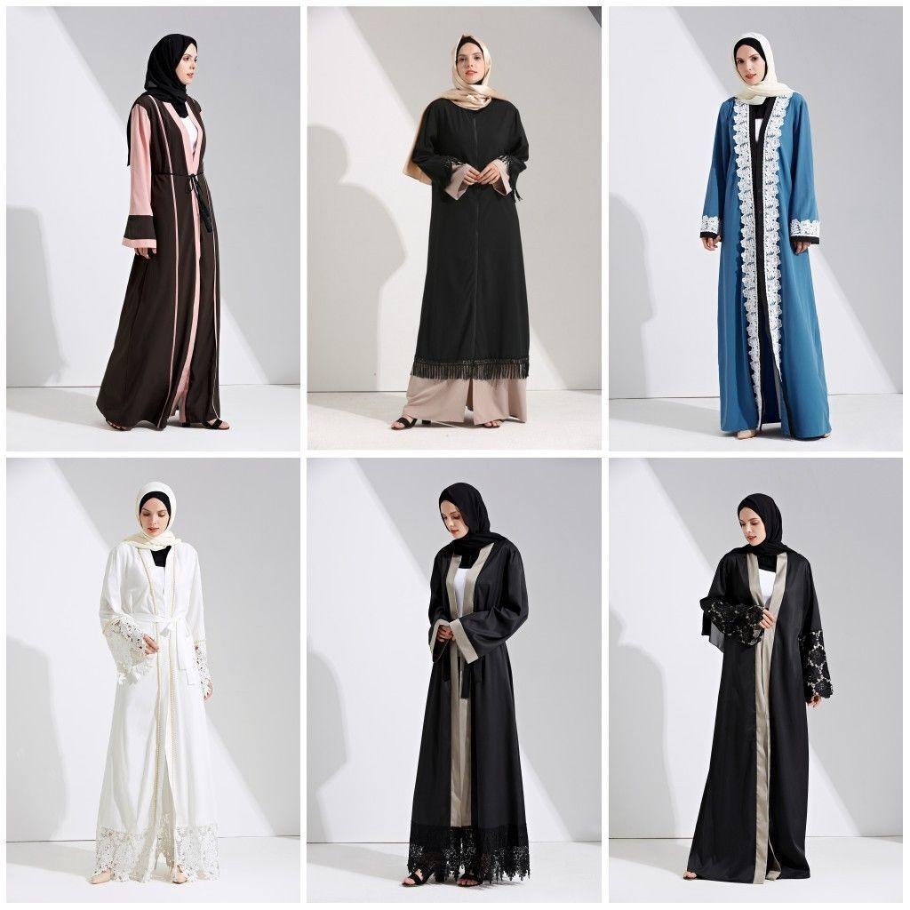 Womens dubia style open front trim abaya jilbab muslim islamic maxi