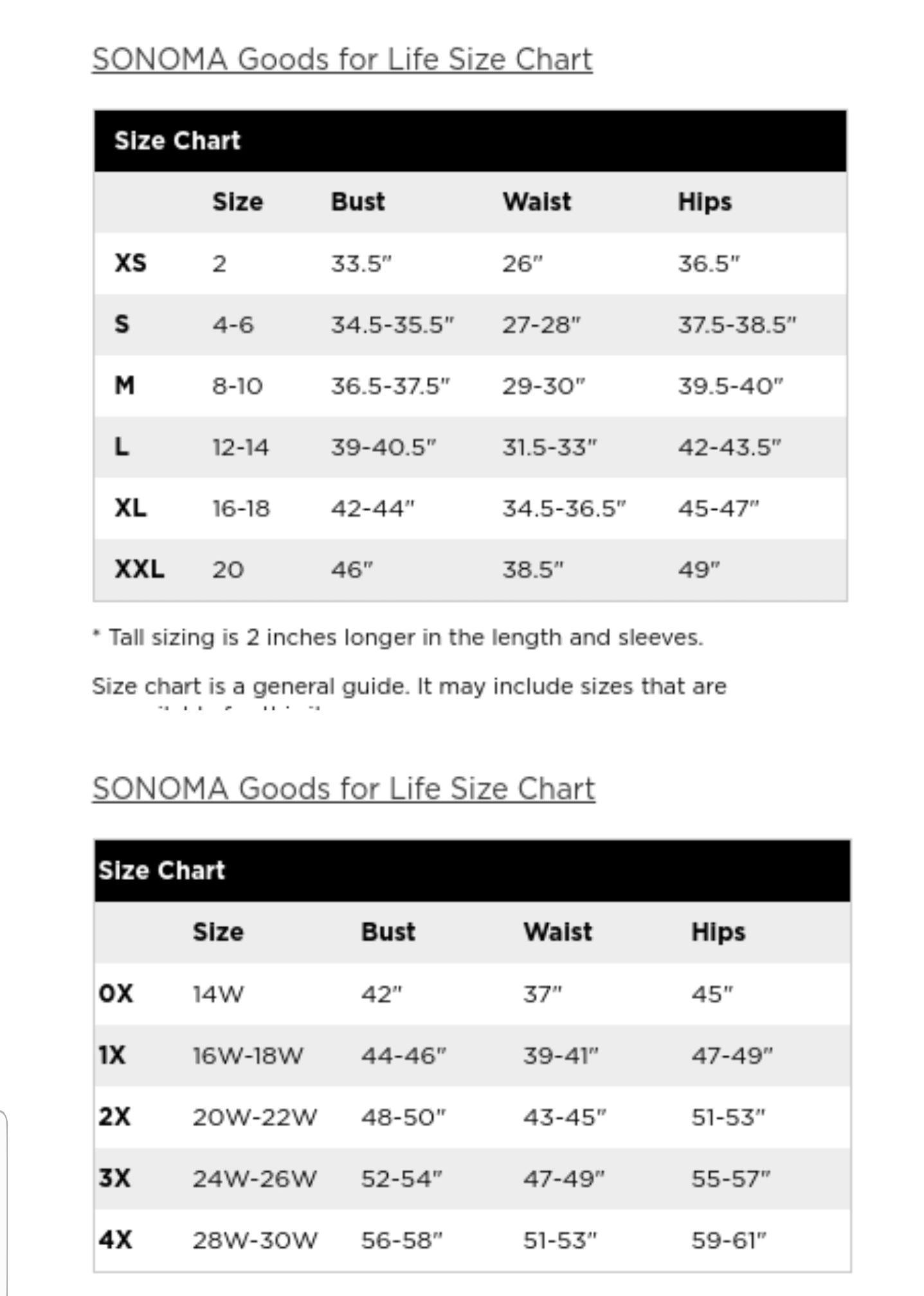 Sonoma Clothing Size Chart Women S Clothing Size Chart Sonoma Clothing Size Chart