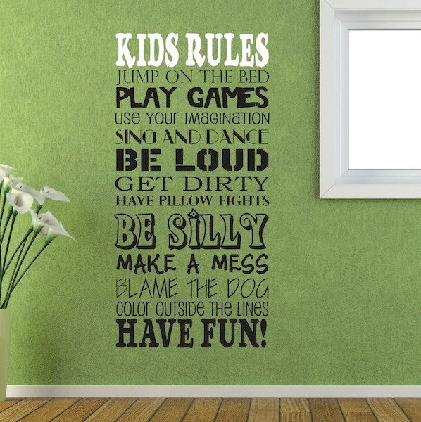 Items similar to wall decal kids rules wall vinyl sayings kids room on etsy