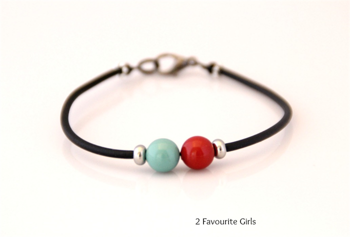 Jade and Red Swarovski Pearl Beads and Black Rubber Bracelet || 2 favourite girls, on www.madeit.com.au