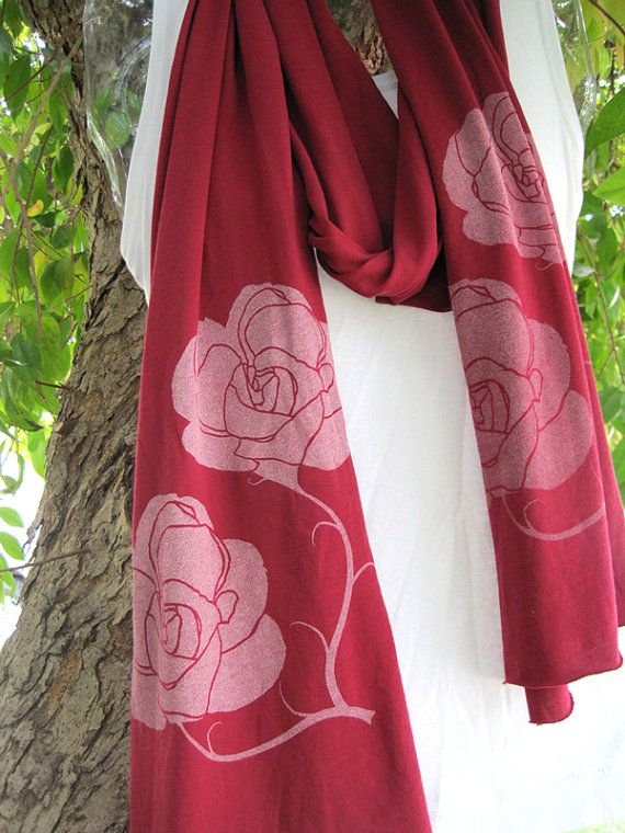 Long Red Scarf with Roses by RotemStudio on Etsy, $38.00