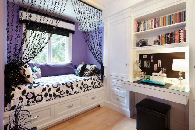 jugendzimmer mädchen klein ideen weiß lila schwarze akzente