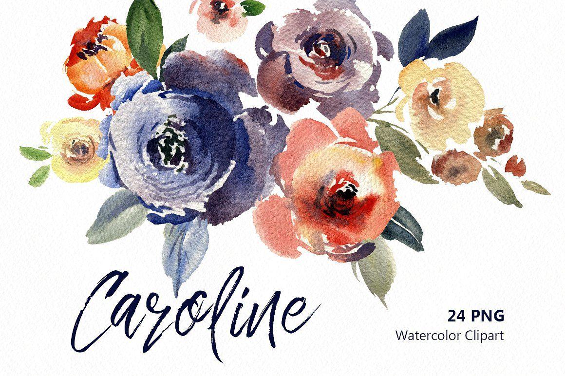 Vintage Watercolor Flowers Leaves Flower Clipart Png Flower Clipart Watercolor Flowers