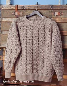 0bbf61178f55 Men s Cabled Crocheted Sweater - Free Pattern