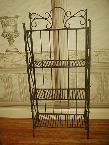 folding bakers rack wrought iron heavy