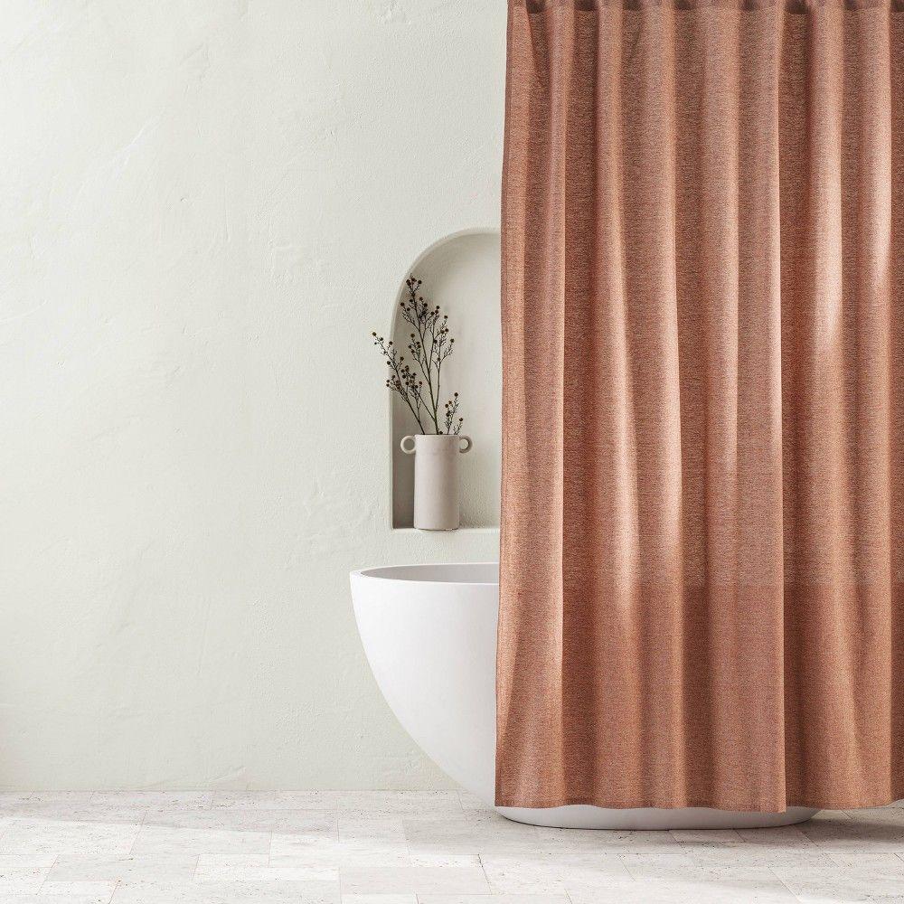 Chambray Shower Curtain Clay Casaluna In 2020 Wooden Bathroom
