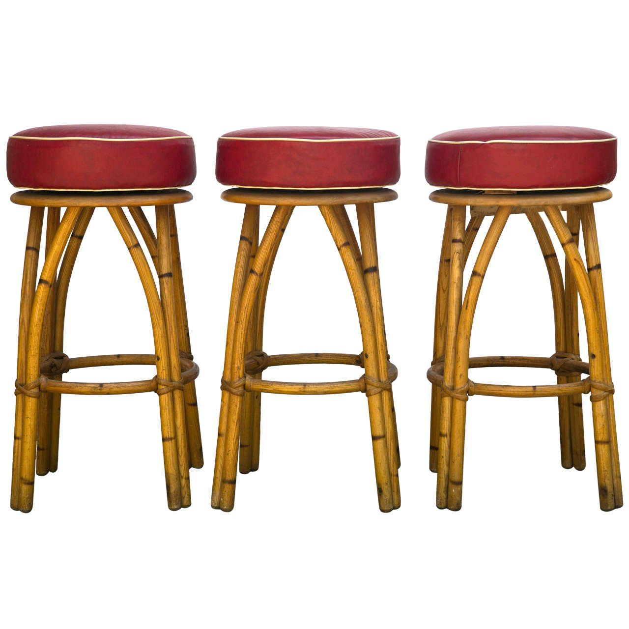 Kitchen Dining Rattan Bar Stools Legs With Red Cushion Seat