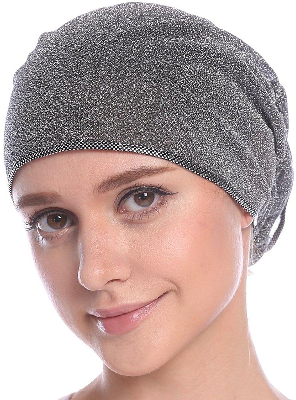 a777644ee16 Women s Elegant Strench Gold Glitter Flower Muslim Turban Chemo Cap -  Silver - CM17Z7CO5G9 - Hats