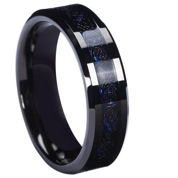 QUEENWISH 6mm Black Celtic Dragon Tungsten Carbide Ring Blue Carbon