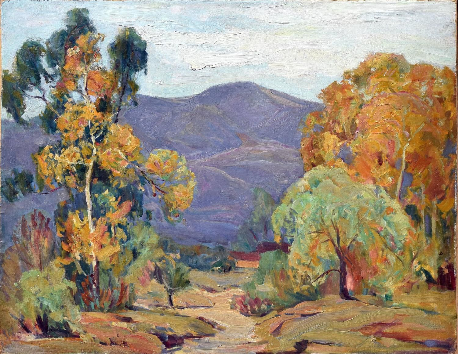 San Gabriel Valley 1939 | From a unique collection of landscape paintings at https://www.1stdibs.com/art/paintings/landscape-paintings/