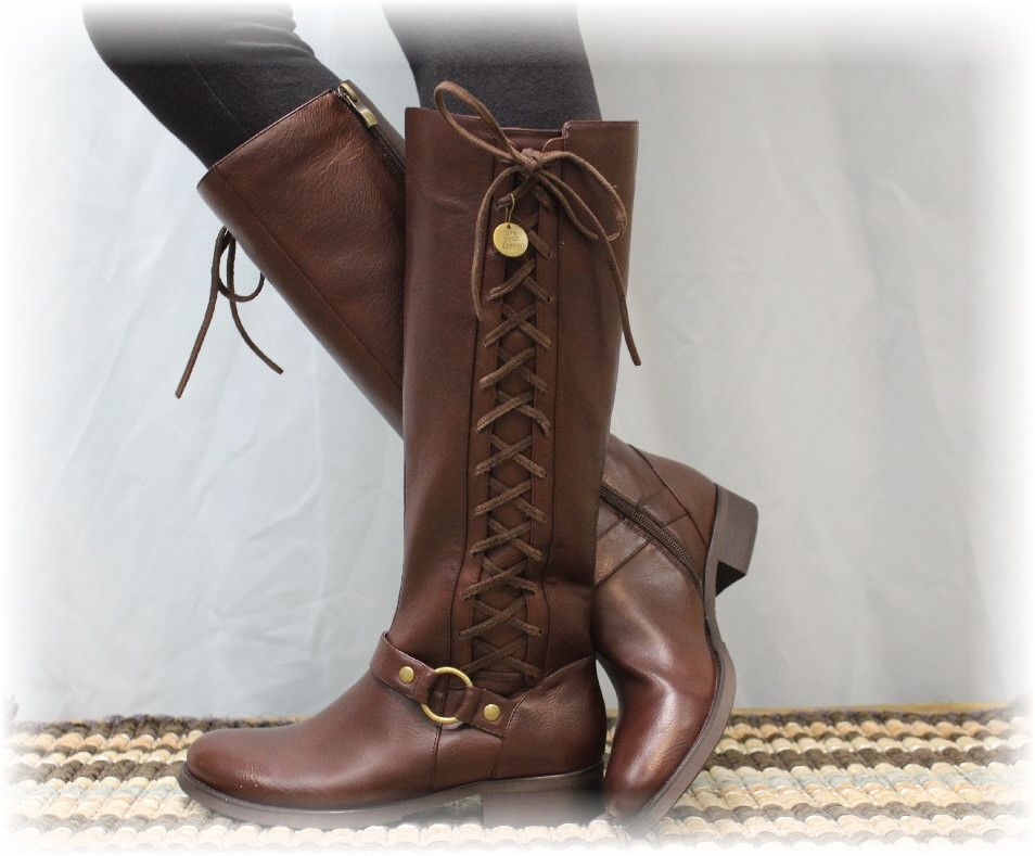 Brown Sterling tall side lace up women