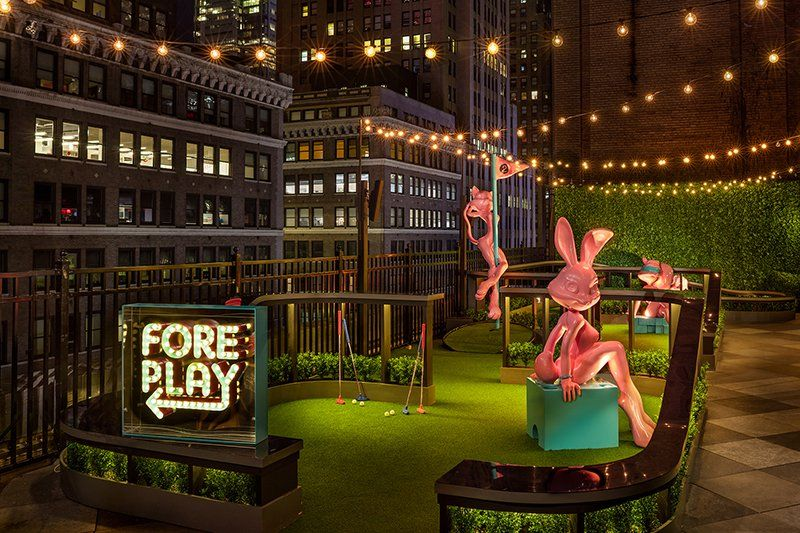 Moxy Times Square's indoor/outdoor hotel rooftop bar and ...