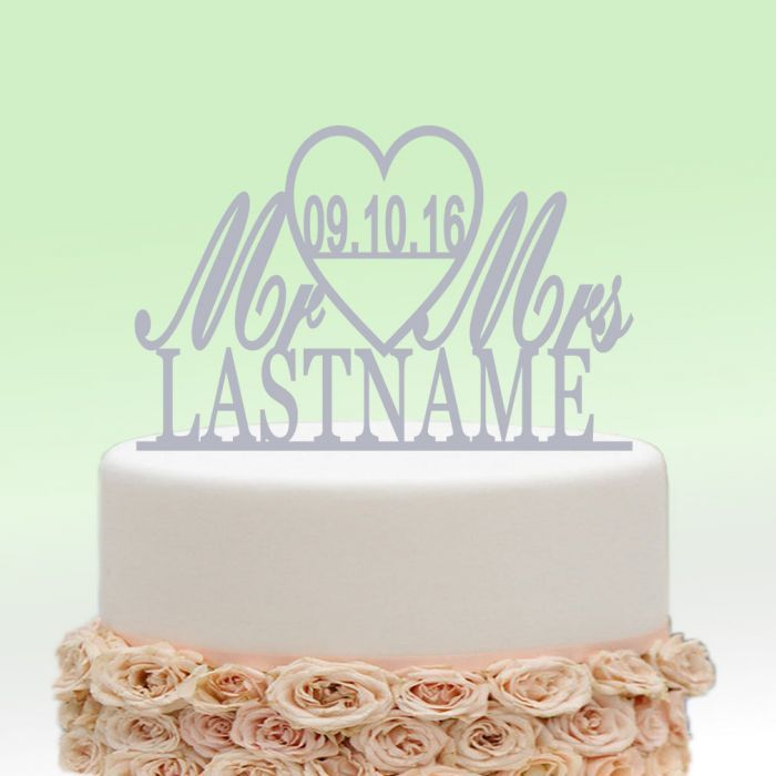 Mirror Silver Mr And Mrs Wedding Heart Name Cake Topper Personalized