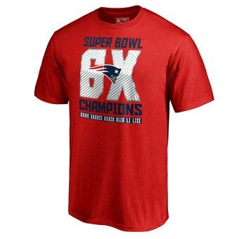 8adebb499 Men s New England Patriots NFL Pro Line by Fanatics Branded Red 6-Time  Super Bowl Champions T-Shirt