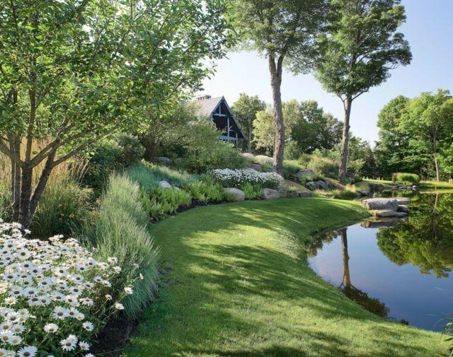 Rasenkantensteine Verlegen Der Rasen Von Den Blumenbeeten Trennen Landschaftsdesign Teichlandschafts Und Zeitgenossische Landschaften