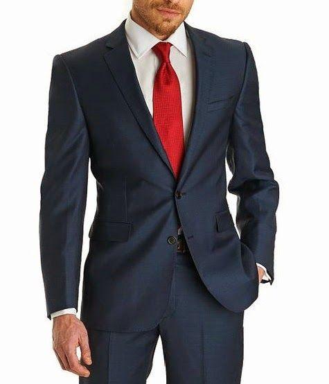 frÍo luminoso: traje azul marino, camisa blanca y corbata roja