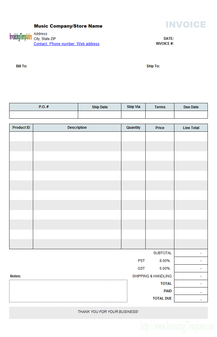 music store invoicing form retail invoice template word