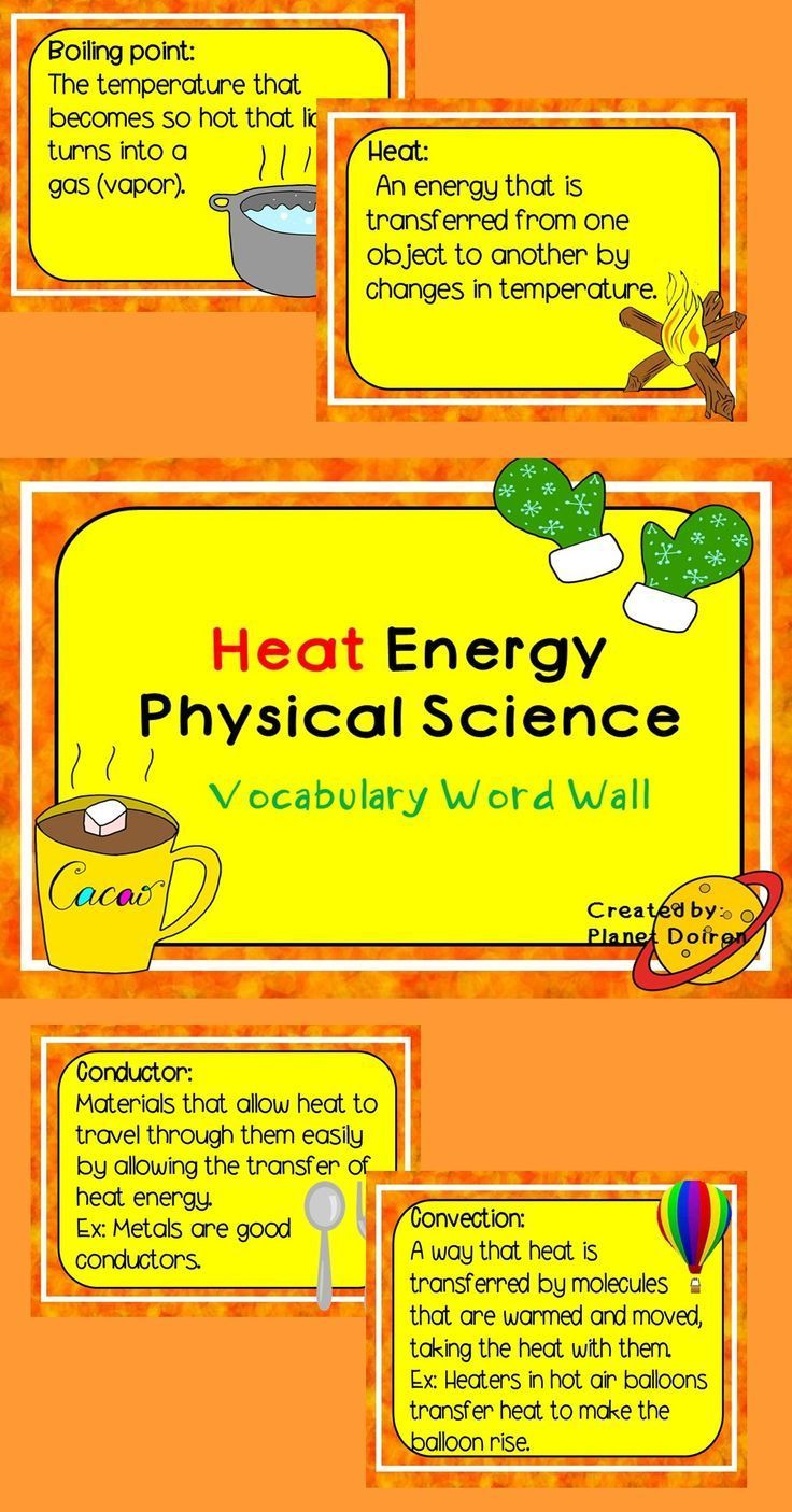 Heat Energy elementary physical science vocabulary word wall cards ...