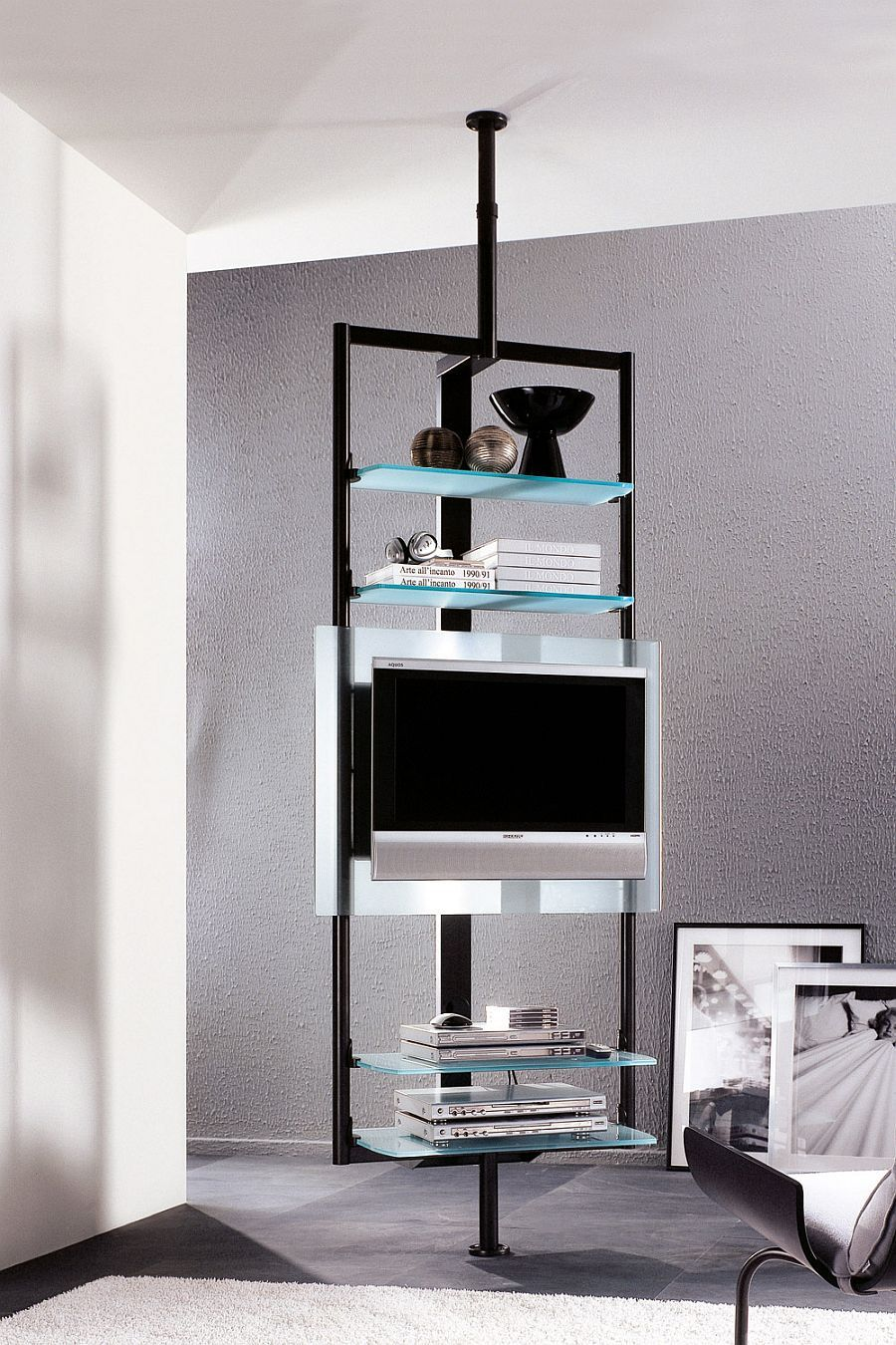 sleek silhouette of the tv stand ensures it takes little space decoist