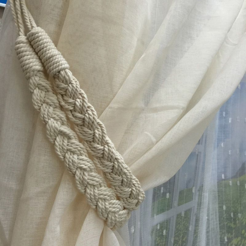 Braided Rope Net Ball Tiebacks Tassels Decor Tie Backs For Curtain and Drapery