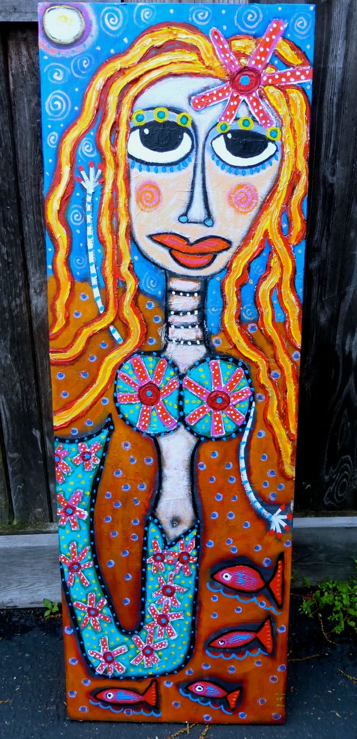 Reaching for the moon a funky mermaid painting on canvas by tracey
