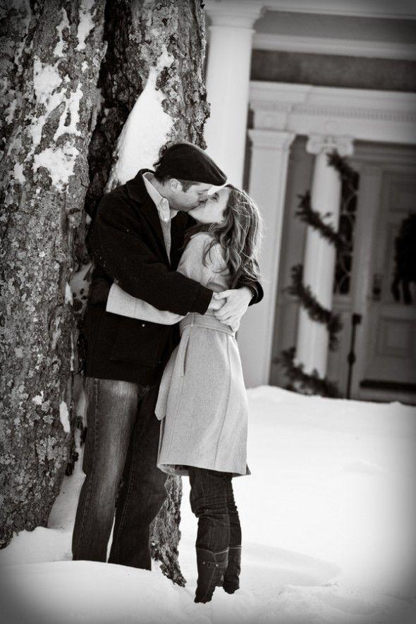 Romantic winter engagement pose by Polis Photography #kiss #kisses ...