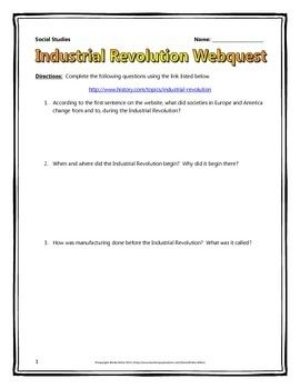 Industrial Revolution Webquest With Key Google Doc Included