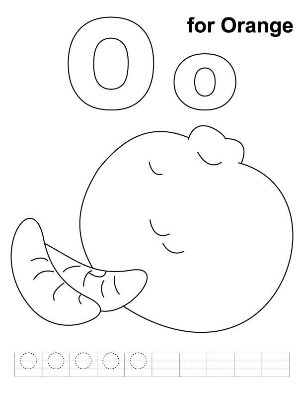 O for orange coloring page with handwriting practice