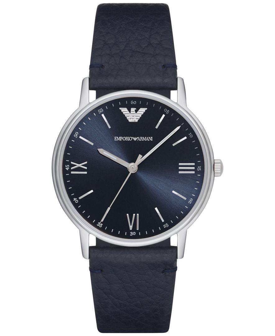Emporio Armani Men s Kappa Blue Leather Strap Watch 32mm AR11012 ... b0dbaf80fd