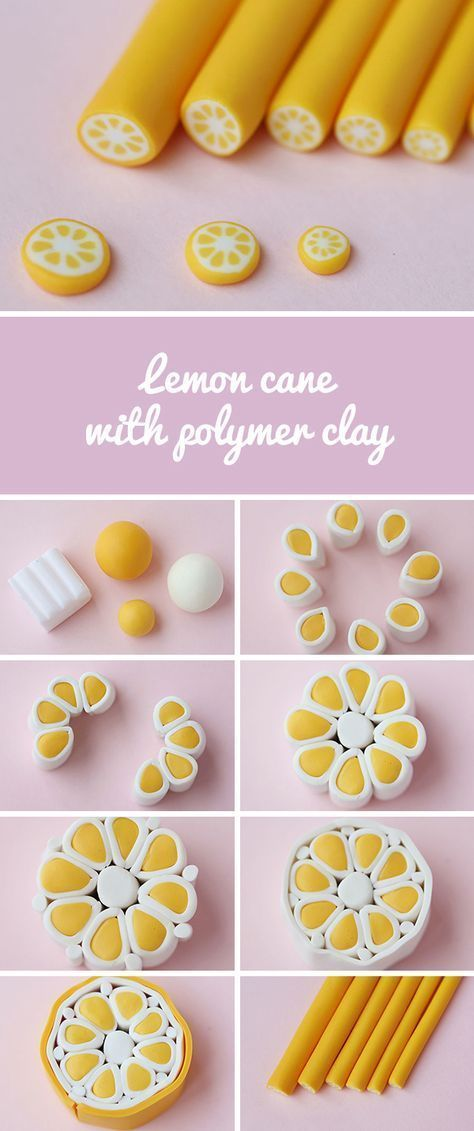 Polymer clay cane lemon DIY | Fimo sculpture to ... - Fimo sugar cane lemon ... -  Polymer clay can