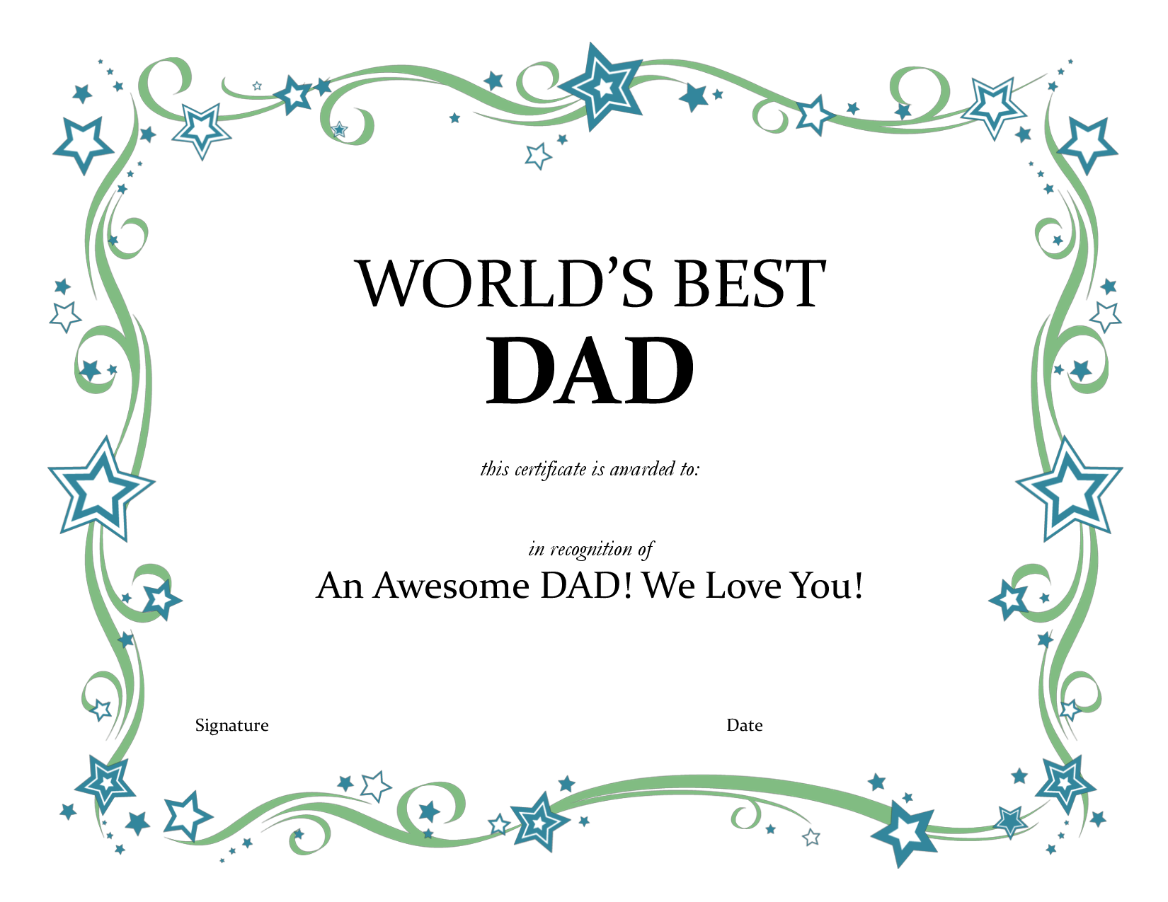 worlds best dad certificate pdf by joe31255 i like pinterest