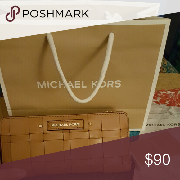 8279afed2e26 Michael Kors Vivian woven leather continental wall Very large wristlet  wallet, large enough to hold note 5 or iPhone plus. Sells for $228 at michael  Kors ...
