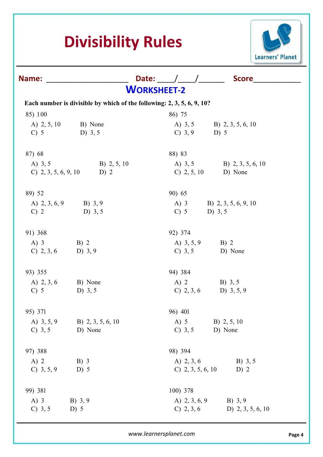 Divisibility Rules Worksheet Answers Grade 5 Math Mon