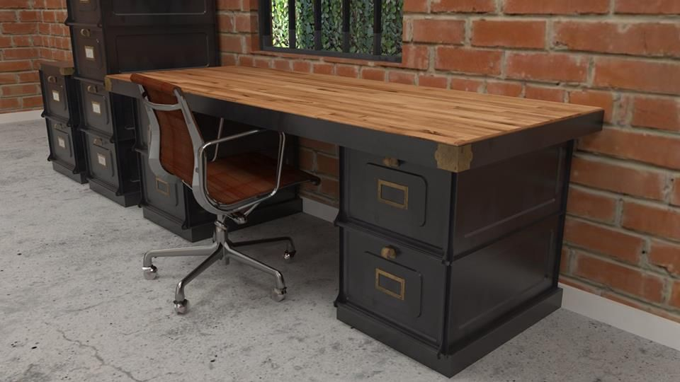 Forges desk with matching filing cabinets by vintage industrial furniture vintage industrial for Bedroom set with matching desk