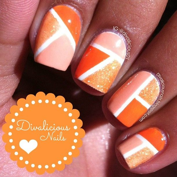 tri-color nail design nails