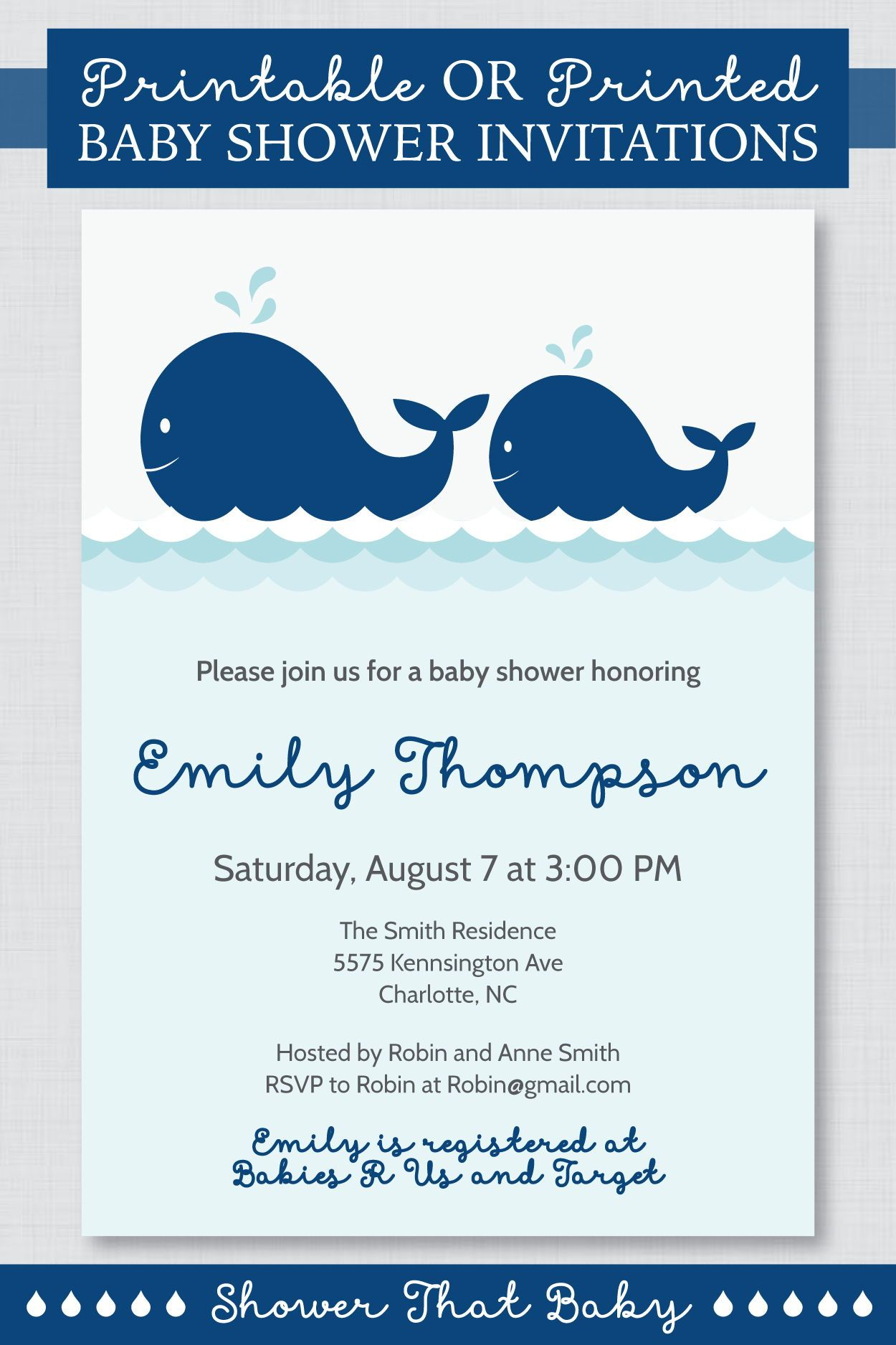 Whale Baby Shower Invitation Printable Or Printed Nautical Etsy Whale Baby Shower Invitations Nautical Baby Shower Invitations Printable Baby Shower Invitations