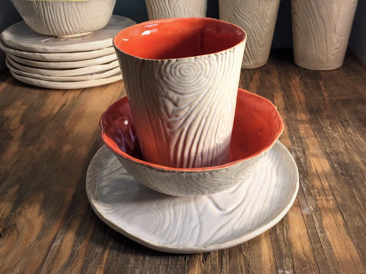 Rustic White Wood And Bright Orange Textured Cup Sandwich Plate And Soup Bowl Set by & Rustic White Wood And Bright Orange Textured Cup Sandwich Plate And ...
