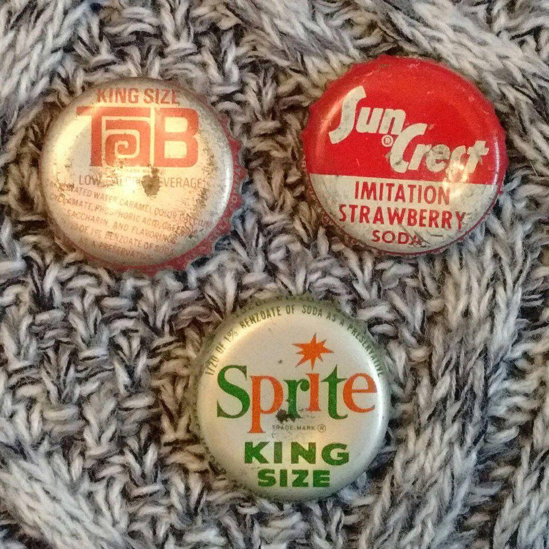3 Old Cork Lined Soda Bottle Caps, Sprite King Size, Sun