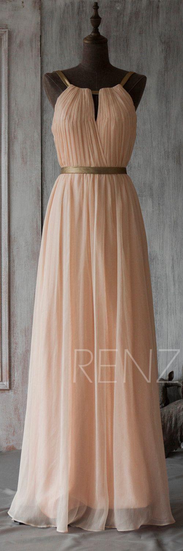 Peach Chiffon Bridesmaid Dress,Sleeveless Maxi Dress,Wedding Dress ...
