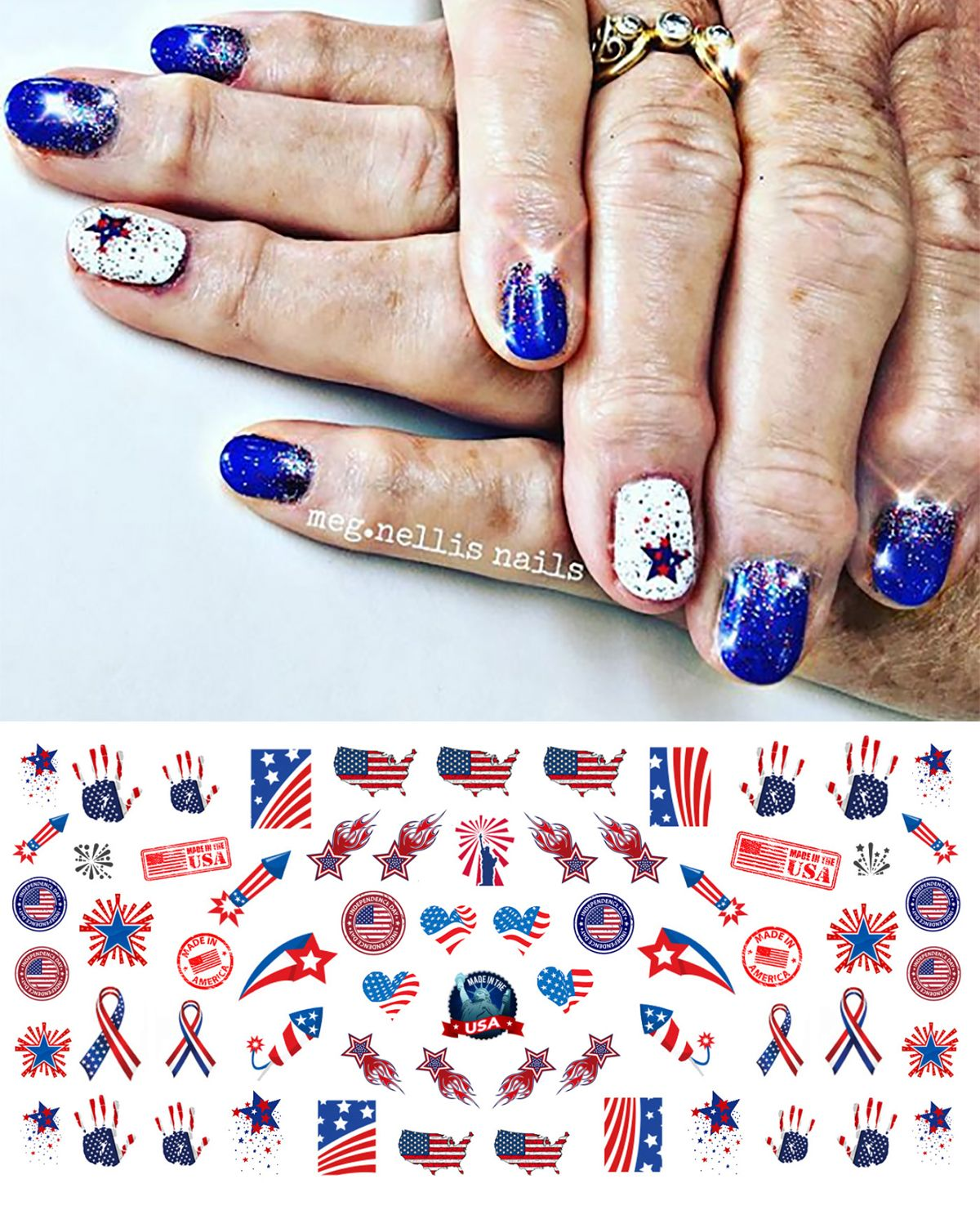 Www Moonsugardecals Com Offers Over 100 Different Salon Quality Nail Art Decal Sets For Any Occasion We Also Do Custom Orders 4 America Nails Nail Art Nails