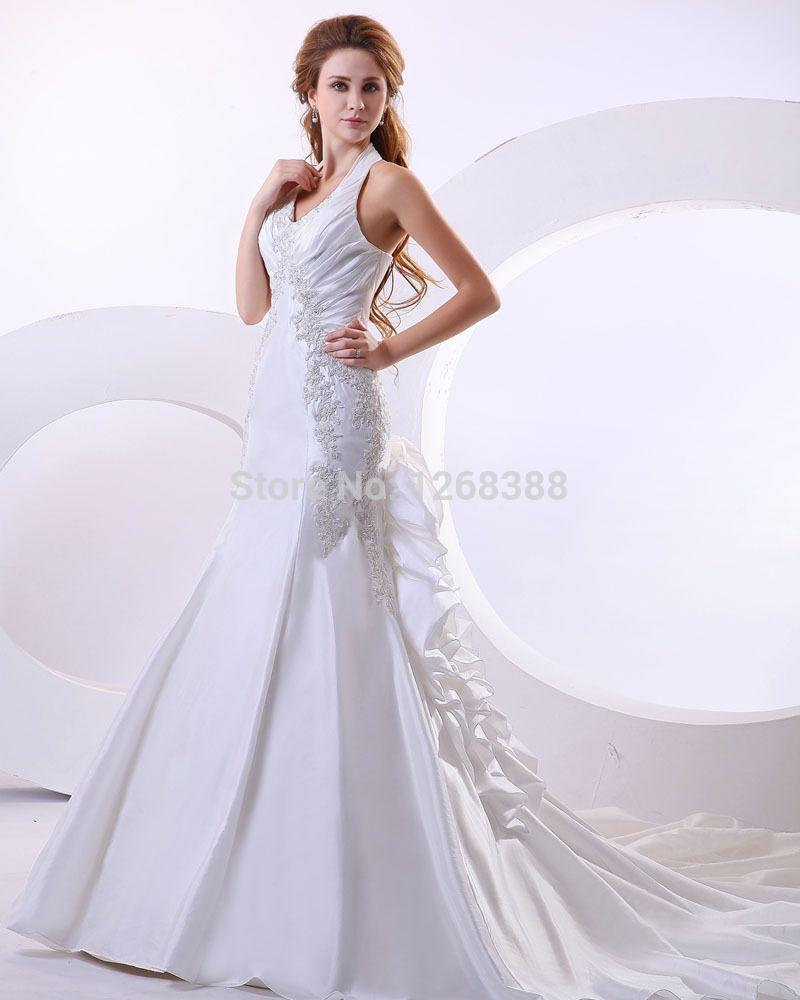 New style wedding gowns A-line Halter Sleeveless Taffeta Chapel Train Bride Wedding Dress With Ruffles