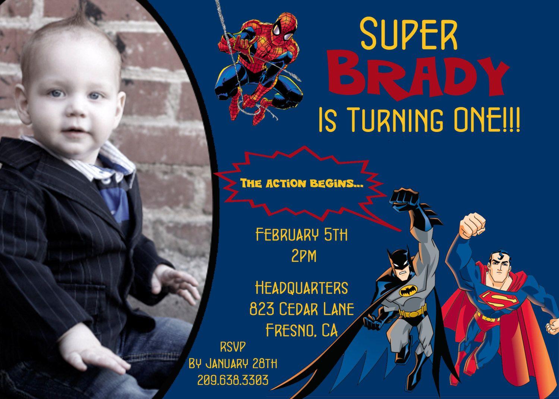 SUPERHEROES - Batman, Spiderman, Superman - Photo Birthday ...