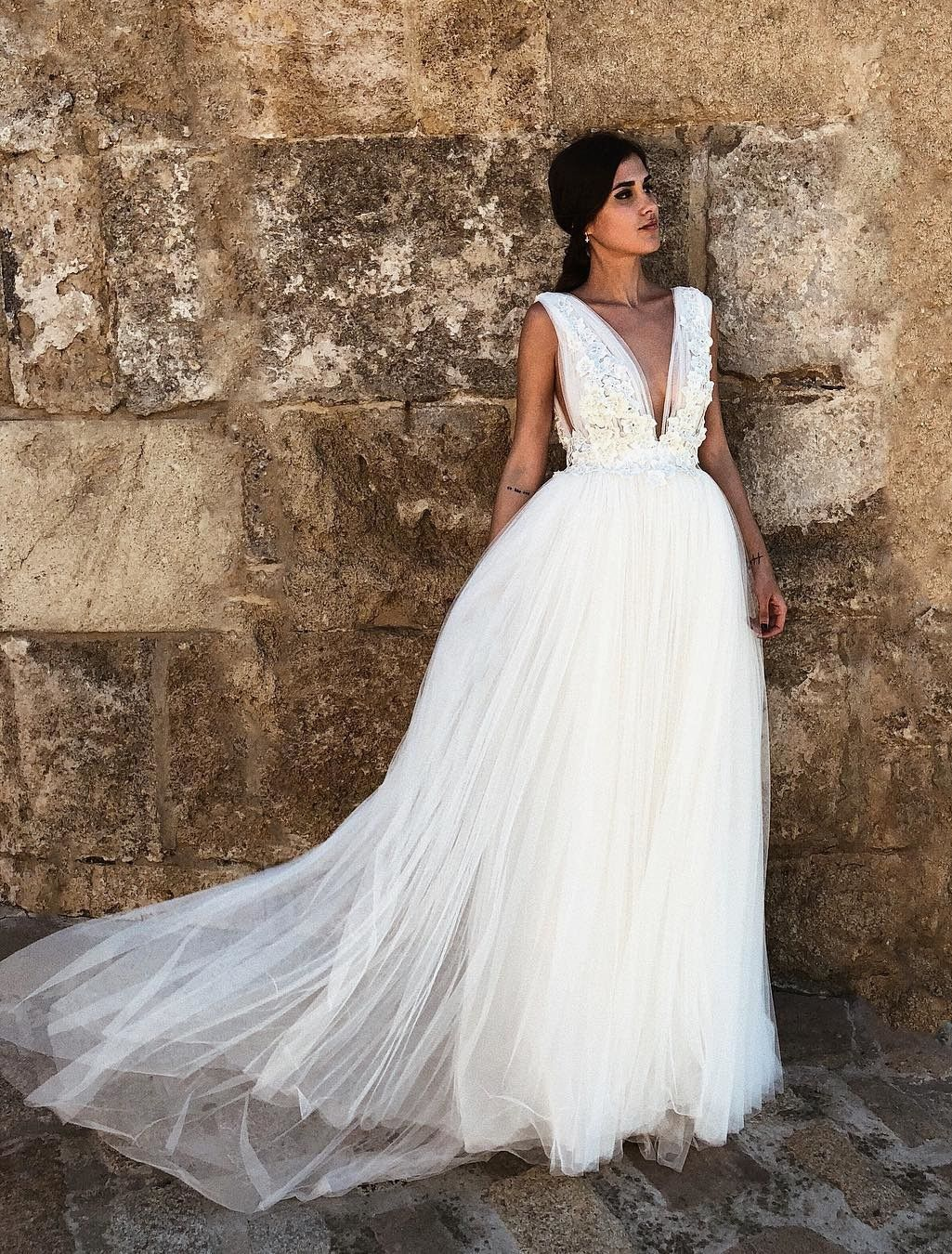 chic deep v neck wedding dresses with appliques, fashion simple ...