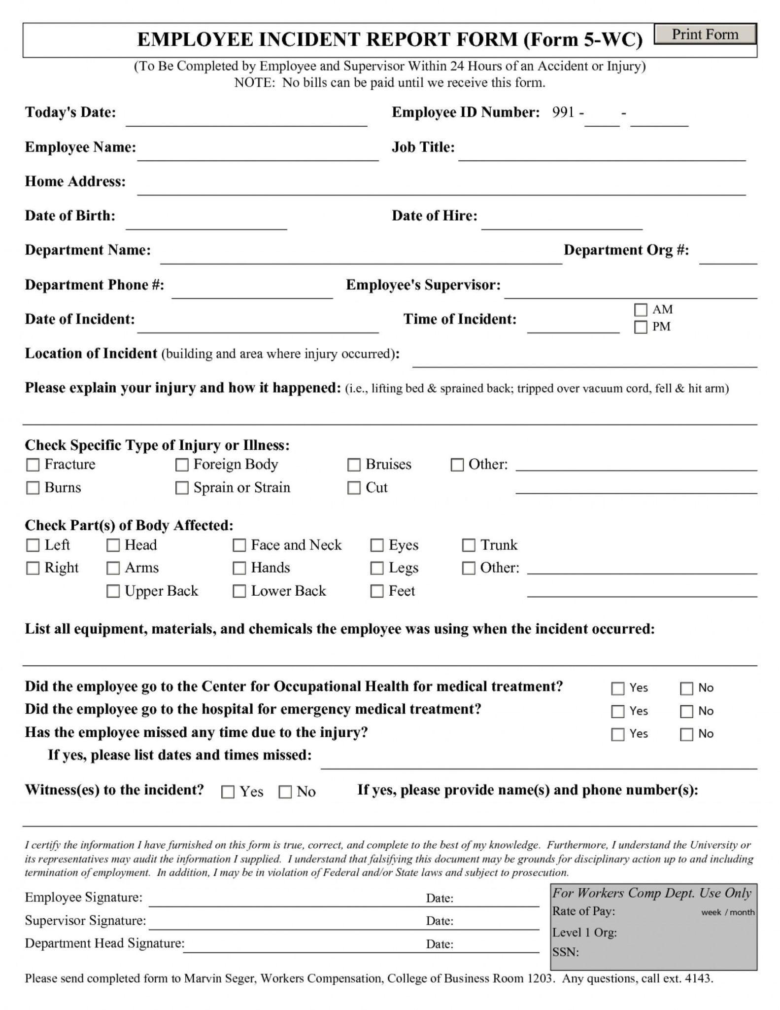 Employee Incident Report Template Incident Report Form Incident Report Report Template
