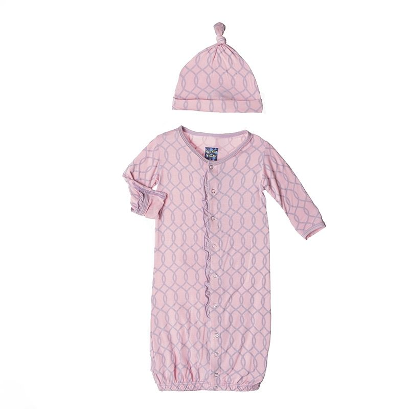 Print Ruffle Layette Gown Converter & Knot Hat Set in Sweet Pea ...